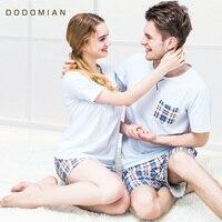 Novos Conjuntos de Pijama de Verão Xadrez Pijamas Sleepwear Roupas Casa Terno Pijama para mulheres e homens de Algodão Macio branco M-XXL