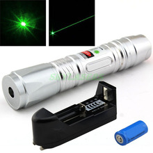 Wholesale prices Siver 532NM WATERPROOF Adjustable GREEN LASER POINTER Green Laser Pen + Battery + Charger Free Shipping