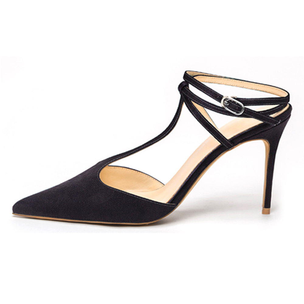 ФОТО Inisastyle 2016 New Fashion buckle-strap women's shoes stiletto pointed toe ladies pumps T-tied solid sandals big size4-15