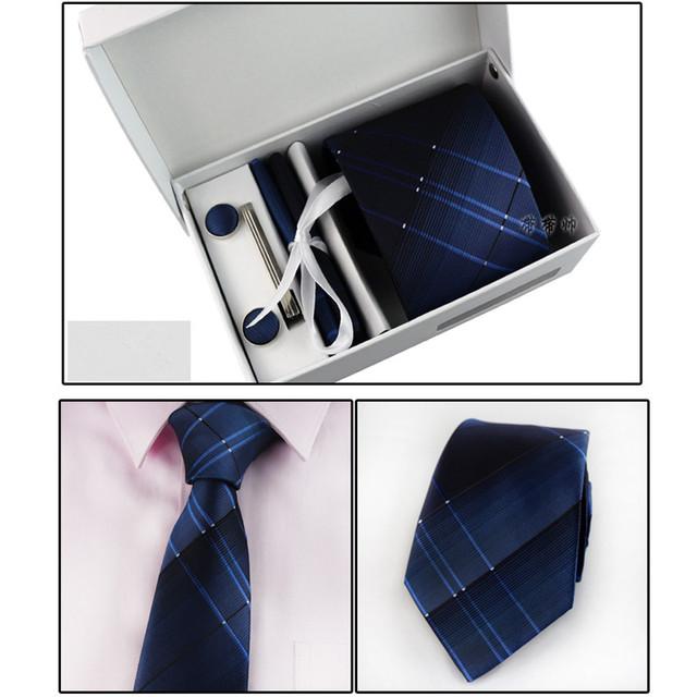 Nova Pescoço Conjunto Laço dos homens de Negócios de Moda Clássico Laço Formal 6 peça Set (gravata + prendedor de Gravata + Lenço + Abotoaduras caixa de Presente + Bolsa)