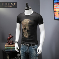 2018 Summer Top Mens Skulls Rhinestones T Shirts Modal Cotton O Neck Short Sleeve Slim Tee Shirt Homme Calaveras Camiseta H18246