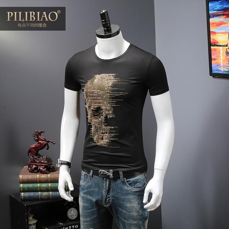 2018 Summer Top Mens Skulls Rhinestones T Shirts Modal Cotton O Neck Short Sleeve Slim Tee Shirt Homme Calaveras Camiseta H18246