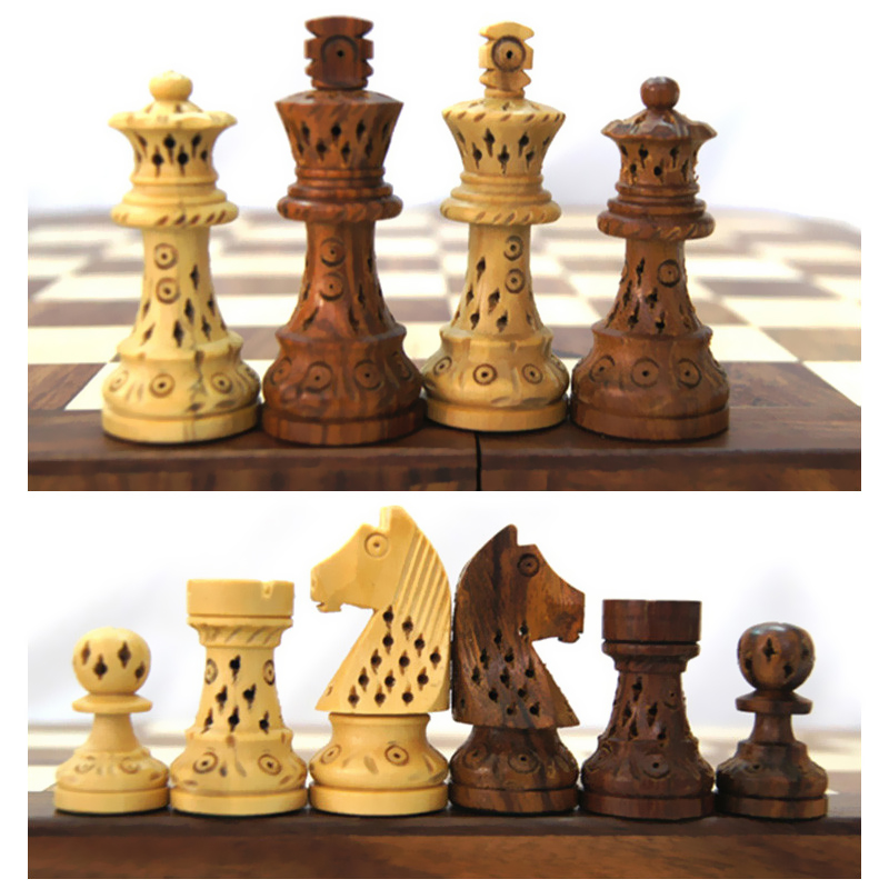 BSTFAMLY carving wooden chess set game, portable game of international chess, folding chessboard wood chess pieces LA10 handbook of international economics 3