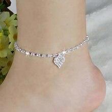 New Arrival Women Rhinestone Love Heart Pendant Ankle Bracelet Chain Beach Barefoot Anklet