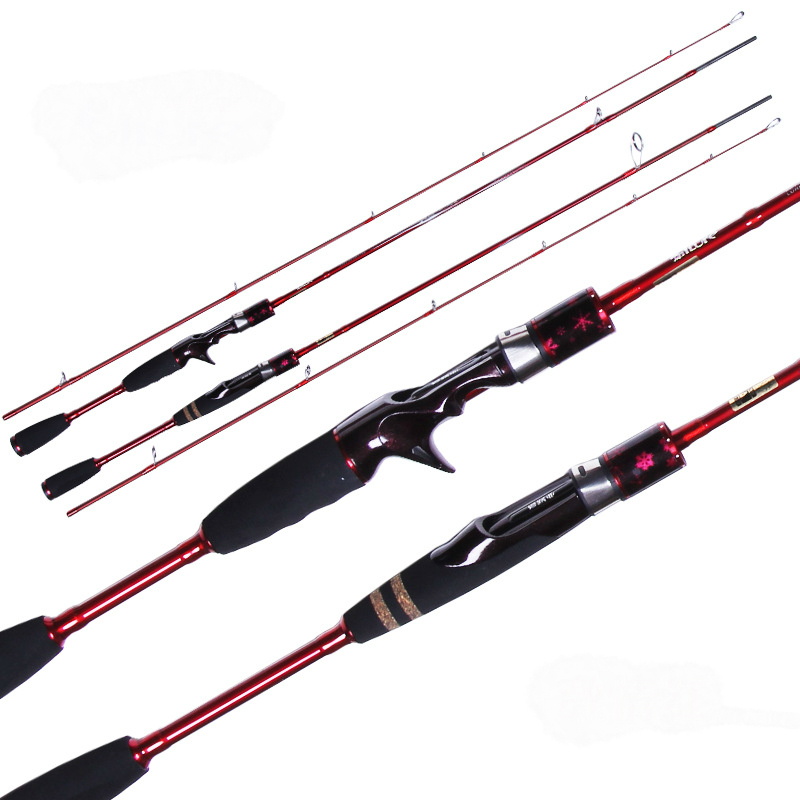 High Quality Female Fishing Rod 2 Section Power ML Carbon Spinning Casting Lure Rod 1.9m Special For Five Color