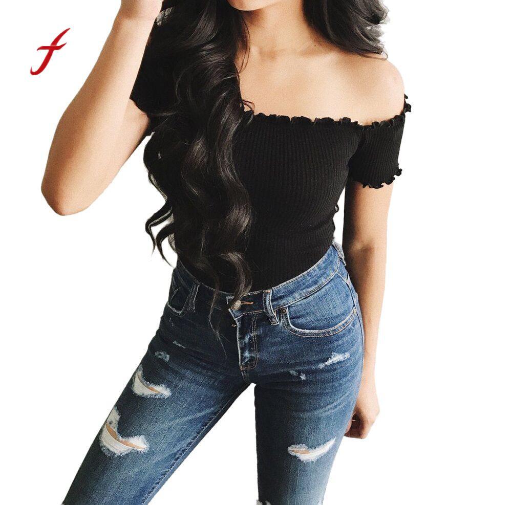 FEITONG Womens shirt Sexy Solid Strapless Off Shoulder Short Tops Blusa Casual Short Sleeve Slash Neck Slim Female T-shirt 2018