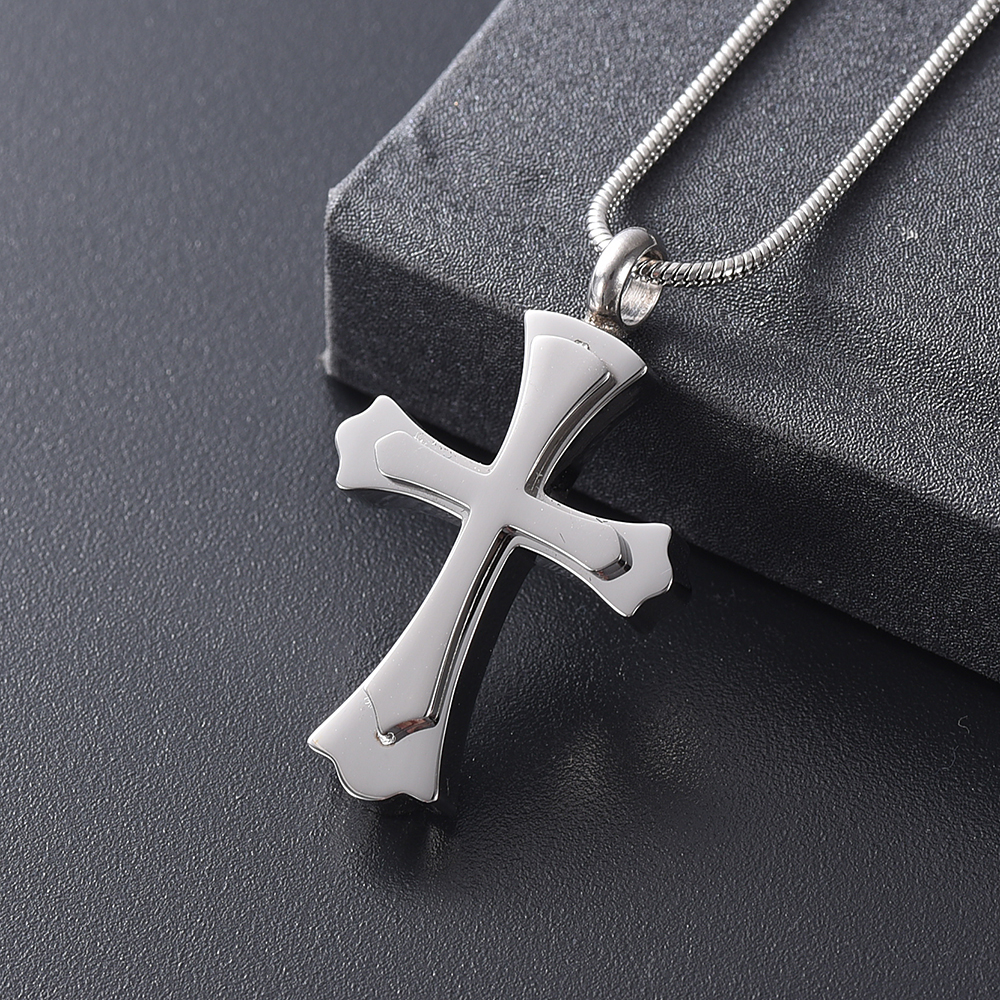 KLH12236 Silver Double Cross Cremation Necklace for Ashes Stainless Steel Keepsake Jewelry Cross Memorial Urn for Pet Human