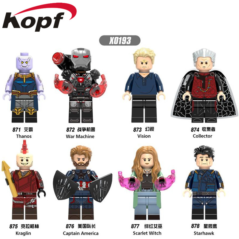 Single Sale Super Heroes Thanos Vision Collector Captain America Scarlet Witch Building Blocks Bricks Children Gift Toys X0193 single sale super heroes david bowie ziggy stardust captain canuck dexter morgan building blocks bricks children gift toys da054
