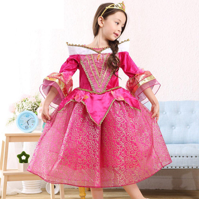 Sleeping Beauty Princess Girls Dress Cosplay Party Costume for Kids Halloween Party Fancy Dance Anna Elsa Dresses 3-8 Years 21