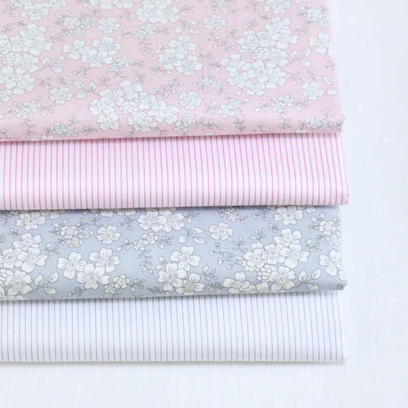 Gray Pink Floral Stripe Diy Cotton Fabric For Sewing Quilting Patchwork Textile Tilda Doll Body Clothes Handmade Tissus an Meter