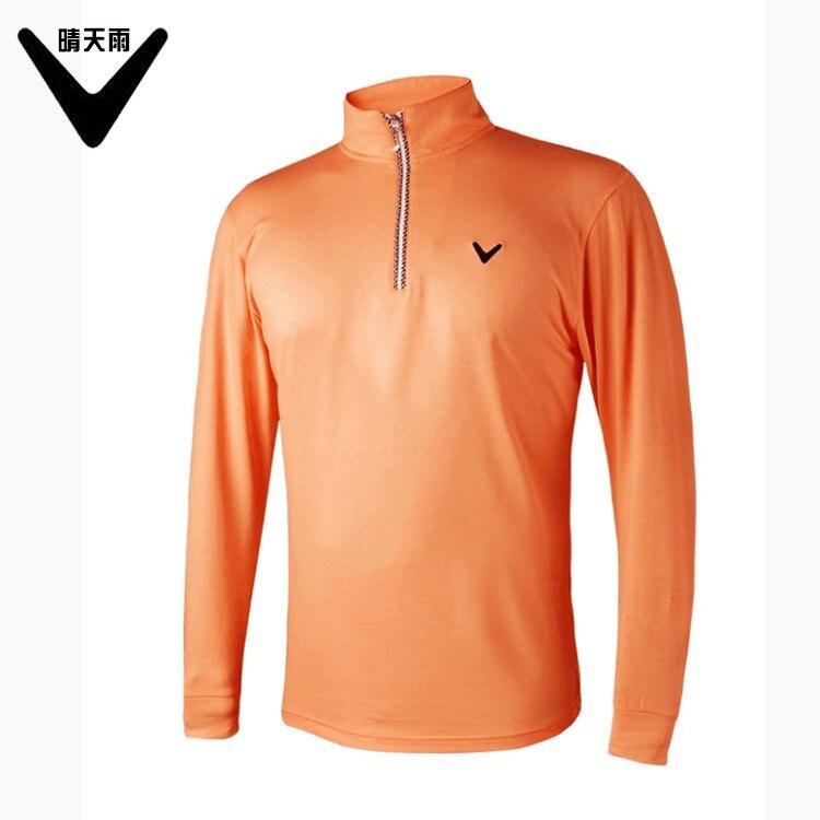 2018 spring summer mens high collar half zipper long-sleeved golf T-shirt Anti-Pilling solid color Breathable golf Sportswear