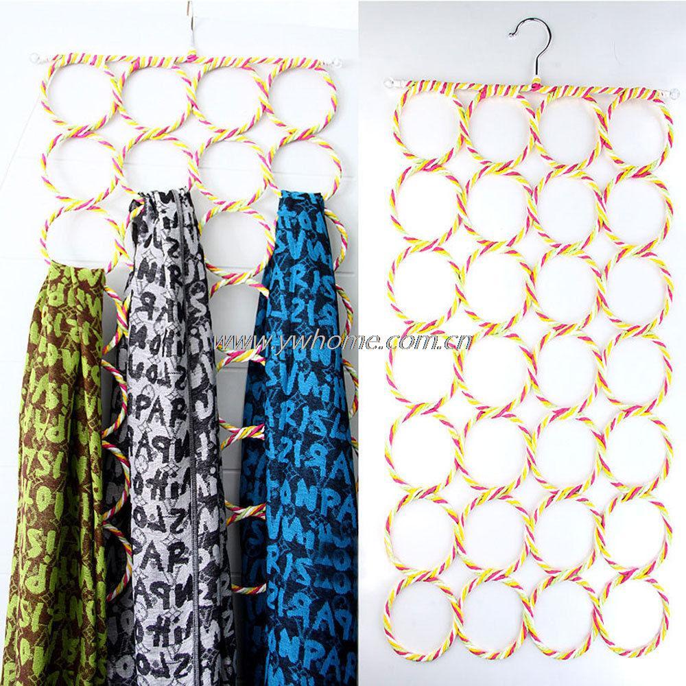 Creative life Multifunction 28 Hole Ring Rope Scarf Wraps Shawl Storage Holder Hook Hanger Decor Room 73cm*38cm