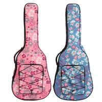 40 / 41 Inch Flower Printed Folk Guitar Bag Double Straps Canvas Pad 10mm Cotton Thickening Soft Cover Waterproof Backpack