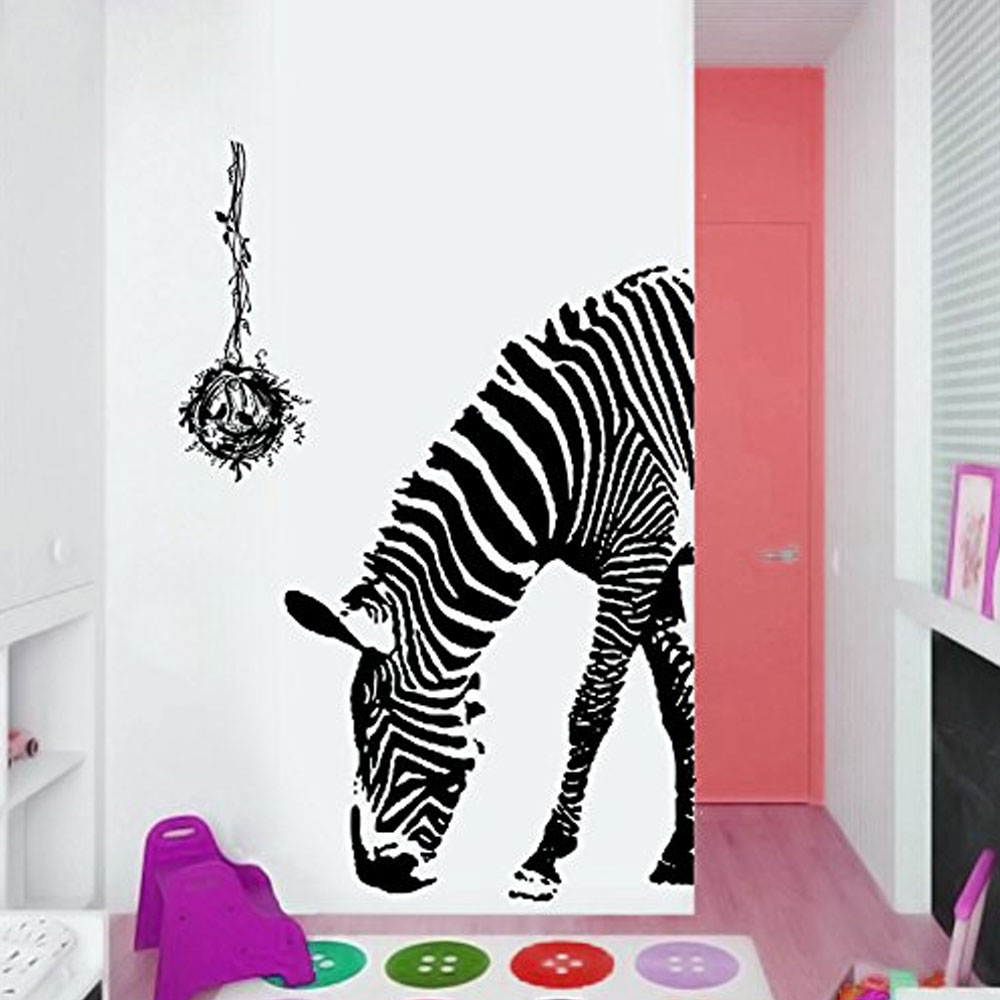 US $6.24 43% OFF|Zebra Wall Stickers Bedroom Living Kids Rooms Decor DIY  Sticker Decor Decorative Removable Wallpaper-in Wall Stickers from Home &  ...