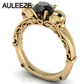Halloween Double Skull Natural Black Agate Engagement Ring Solid 10K Yellow Gold Real Gemstone Ring Vintage Filigree Onxy Ring