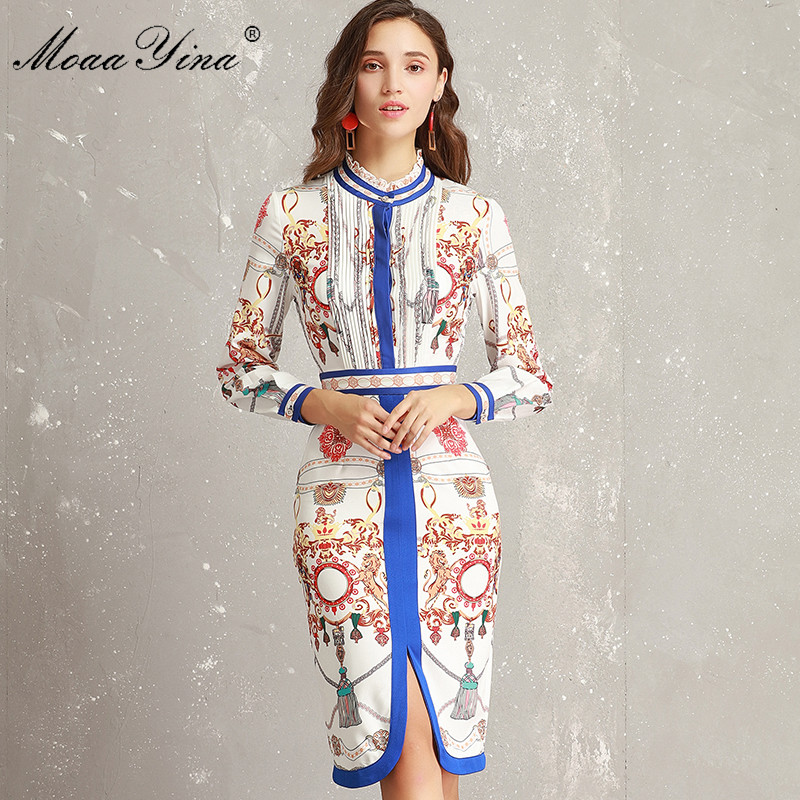 MoaaYina Fashion Designer Runway Dress Lente Vrouwen Ruches kraag Lange mouw Ruches Streep Afdrukken Slanke Packet hip Elegante Jurk-in Jurken van Dames Kleding op  Groep 1