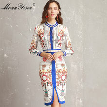 MoaaYina Fashion Designer Runway Dress Lente Vrouwen Ruches kraag Lange mouw Ruches Streep Afdrukken Slanke Packet hip Elegante Jurk(China)