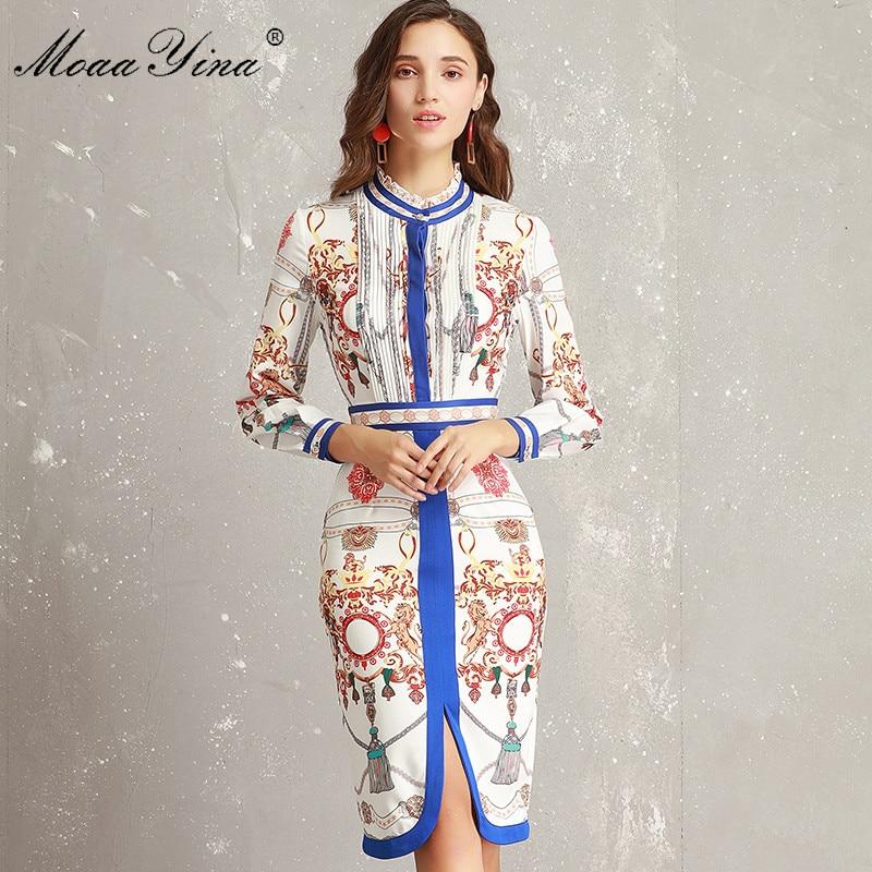 MoaaYina Fashion Designer robe de piste printemps femmes à volants col à manches longues ruché rayure imprimer mince paquet hanche élégante robe