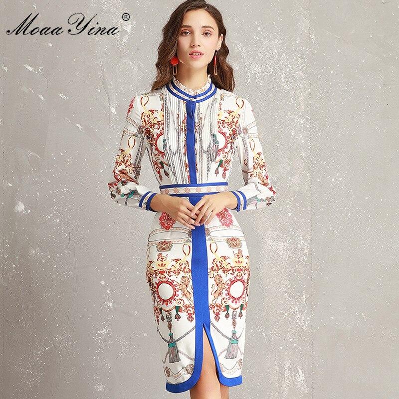 MoaaYina ファッションデザイナー滑走路ドレス春女性フリル襟長袖シャーリングストライププリントスリムパケットヒップエレガントなドレス  グループ上の レディース衣服 からの ドレス の中 1