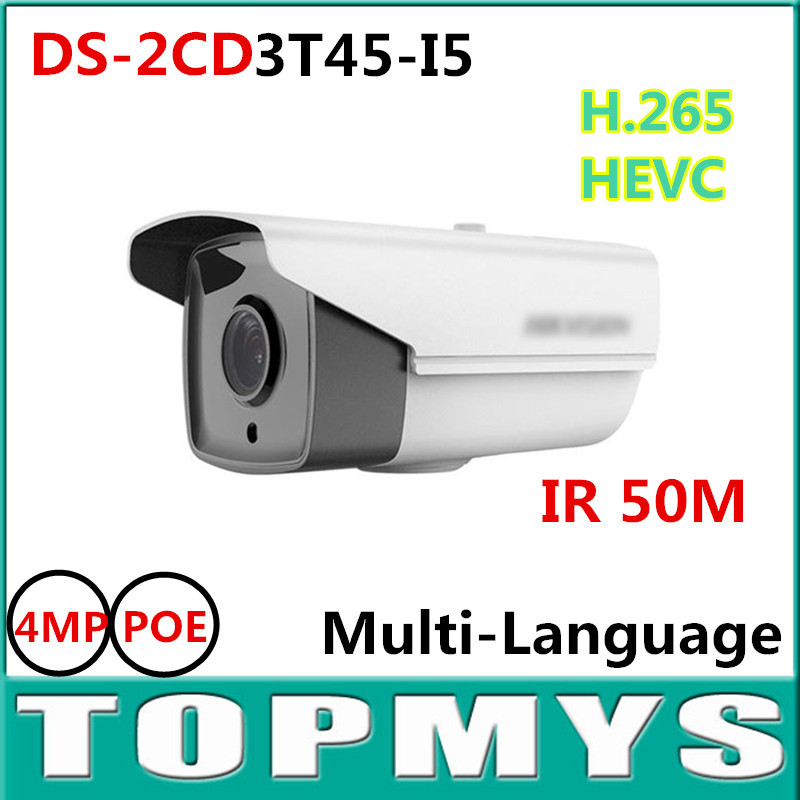 4PCS/LOT HIK 4MP IP Camera DS-2CD3T45-I5 IR 50M Full HD H.265 CCTV network Bullet EXIR POE Outdoor Home Security IP Camera newest hik ds 2cd3345 i 1080p full hd 4mp multi language cctv camera poe ipc onvif ip camera replace ds 2cd2432wd i ds 2cd2345 i