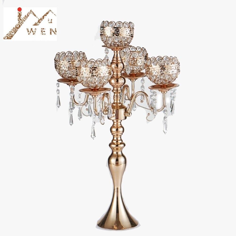 63 cm de Altura 5-braços Candelabros De Ouro Com Pingentes de Metal Suporte de Vela da Tabela Do Casamento Romântico Decoração de Casa 10 pçs/lote