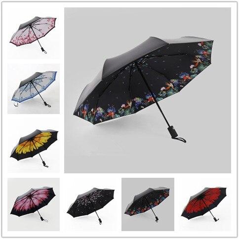 Latest Fully-automatic Umbrella Women Umbrella Rain Anti UV Parasol Ultral-Light 3 Folding Umbrella for Travel Meteor Showers