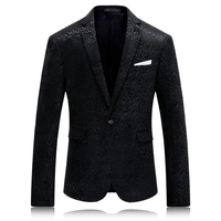 Высокое качество бархатный блейзер мужские черные Slim Fit Для мужчин Повседневное пиджак Slim Fit Роскошные узор бархатный пиджак Для мужчин 4xl