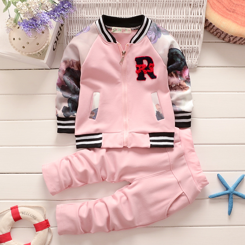 цена BibiCola autumn baby girls clothing sets floral infant girls suit kids clothes sport children clothing suit bebe tracksuit set