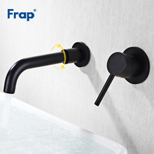 Frap Brass Wall Mounted Black Basin Faucet Single Handle Bathroom Mixer Tap Hot Cold Water Sink Faucet Rotation Spout Y10116 стоимость