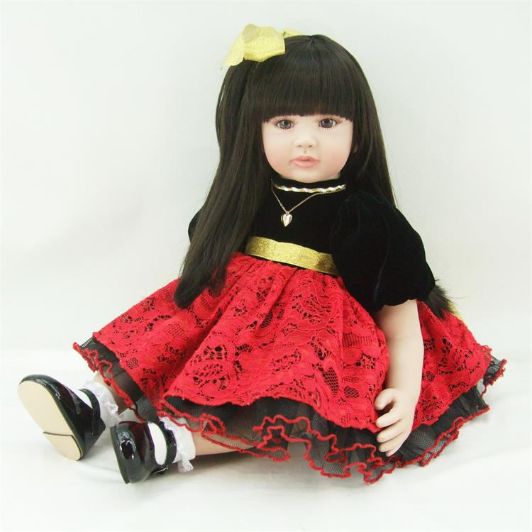 Pursue 24/60 cm Black Hair Soft Vinyl Silicone Reborn Toddler Princess Dolls Cotton Doll Toys for Children Girls Birthday Gift pursue 22 56 cm big smile face reborn boy toddler baby doll cotton body vinyl silicone baby boy doll for children birthday gift