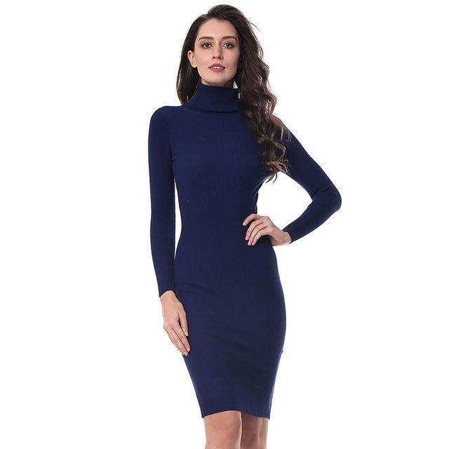 Kenancy 5 Colors Solid Turtleneck Mid-Calf Warm Knitted Sweater Dress Women Elegant Slim Long Sleeve Bodycon Vestidos Elastic