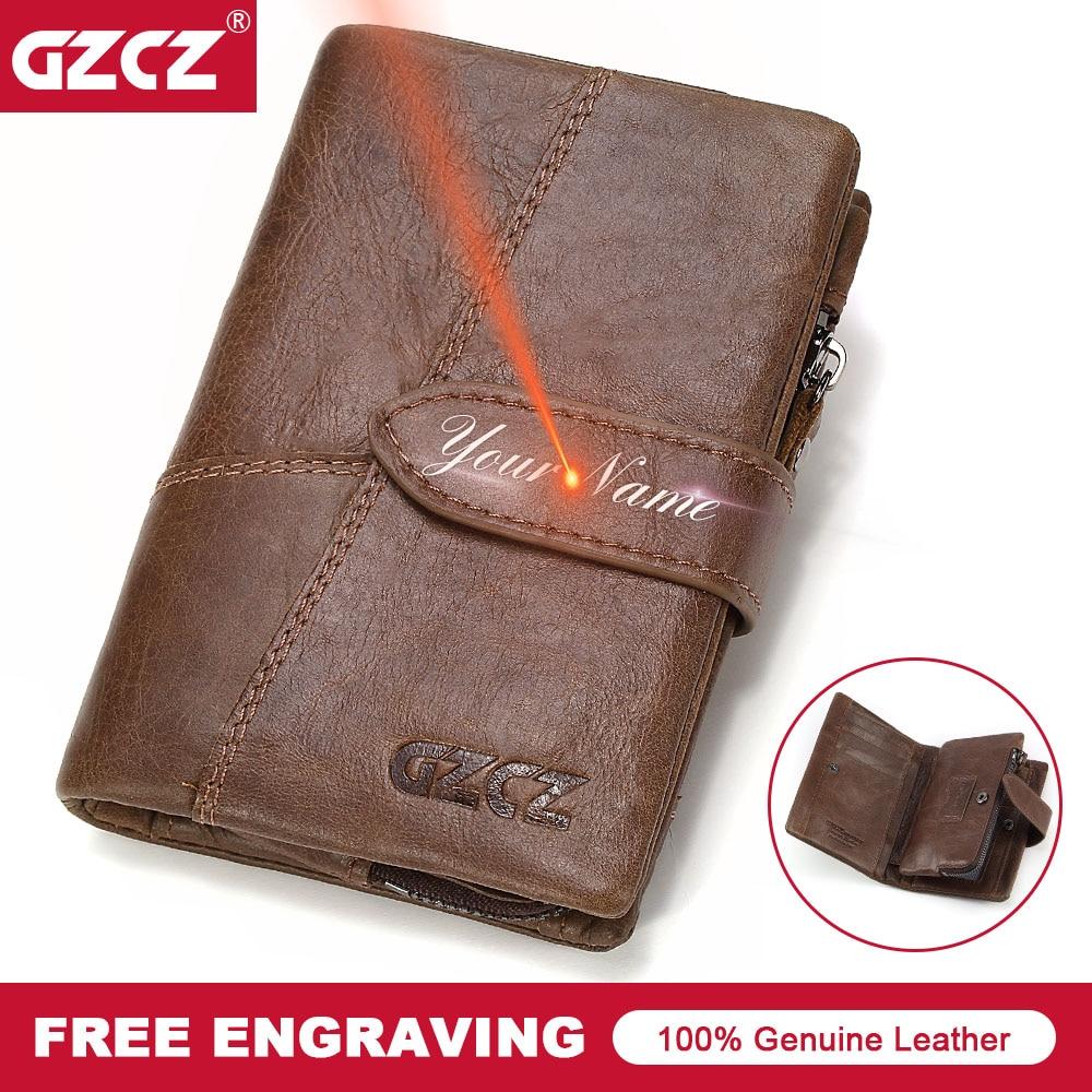 GZCZ Men Wallet Genuine Leather Vintage Brand Male Clutch Bag Design Removed Zip&Hasp Coin Purse Credit Card Holder Portomonee
