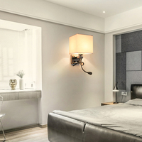 Modern wall sconce with switch wall bed lamps 1 or 2 pcs 1w led reading light hose rocker arm Reading lighting fabric lampshade