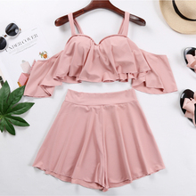 2018 New Women Sexy Bikini Three Piece Hot Spring Bathing Suit, Female Steel Holder, Small Breast Pants Skirt, Slim Swimsuit. shanqi polyester swimming suit woman smock bikini three piece small gather together steel support sexy hot spring swimwear
