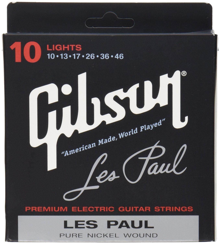 Gibson SEG-LP10 Les Paul Nickel Plated Electric Guitar Strings, Light Gauge
