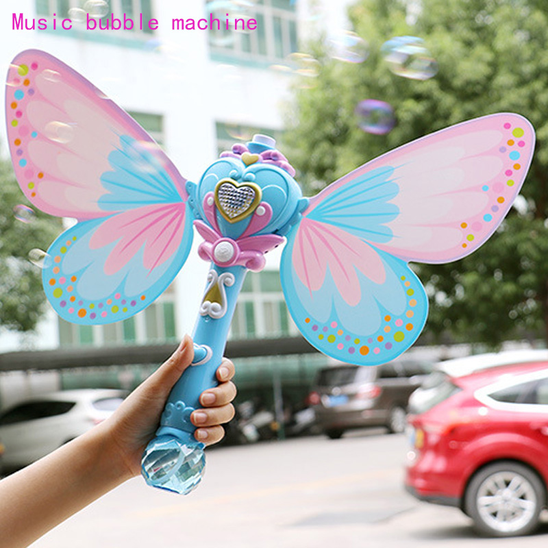 Bubble Gun Music Magic Wand Outdoor Toys For Baby Girl Princess Electric Bubble Blower Machine