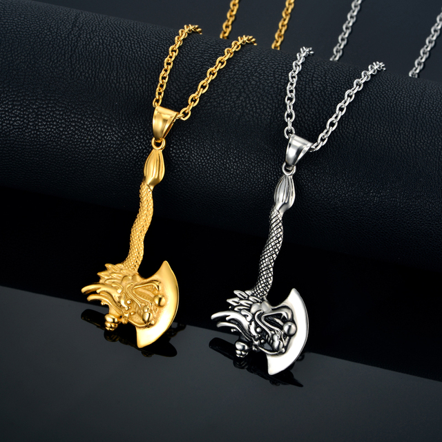 Mens pendant necklace gold color stainless steel chain zodiac dragon mens pendant necklace gold color stainless steel chain zodiac dragon axe charm fashion animal male pendants aloadofball Image collections