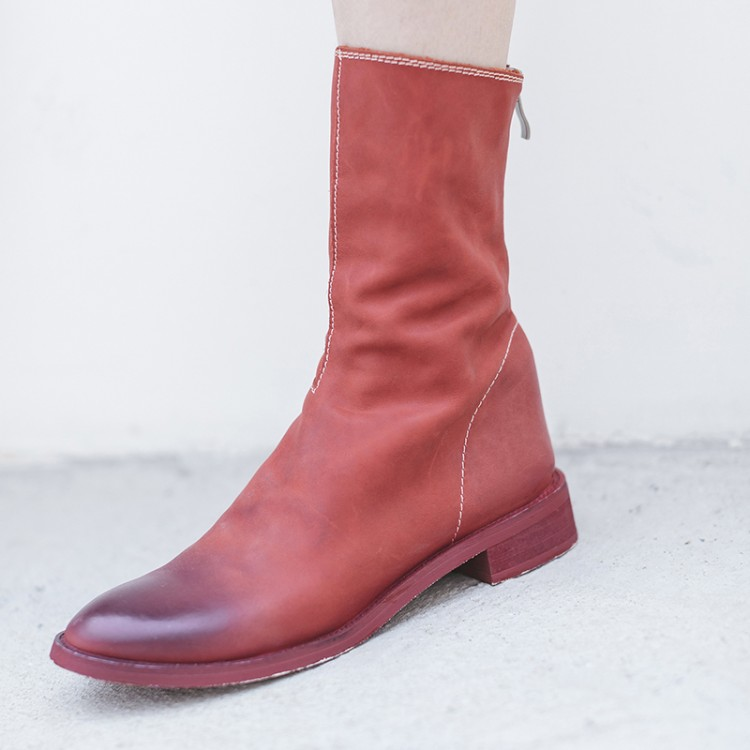 MLJUESE 2019 women Mid calf boots cow leather red color zippers low heel autumn spring women martin boots size 33-43 mantra loop 1825