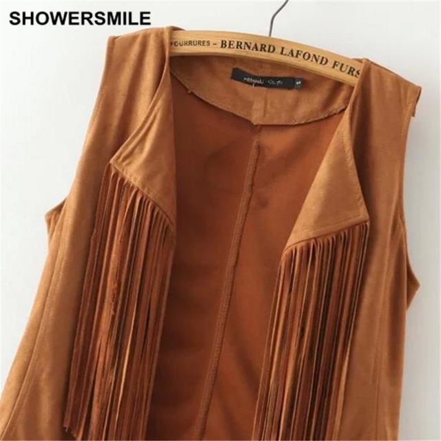 SHOWERSMILE Brand Women Fringe Vest Faux Suede Sleeveless Jacket Tassel Ethnic Waistcoat Ladies Gilet Fashion Female Clothing