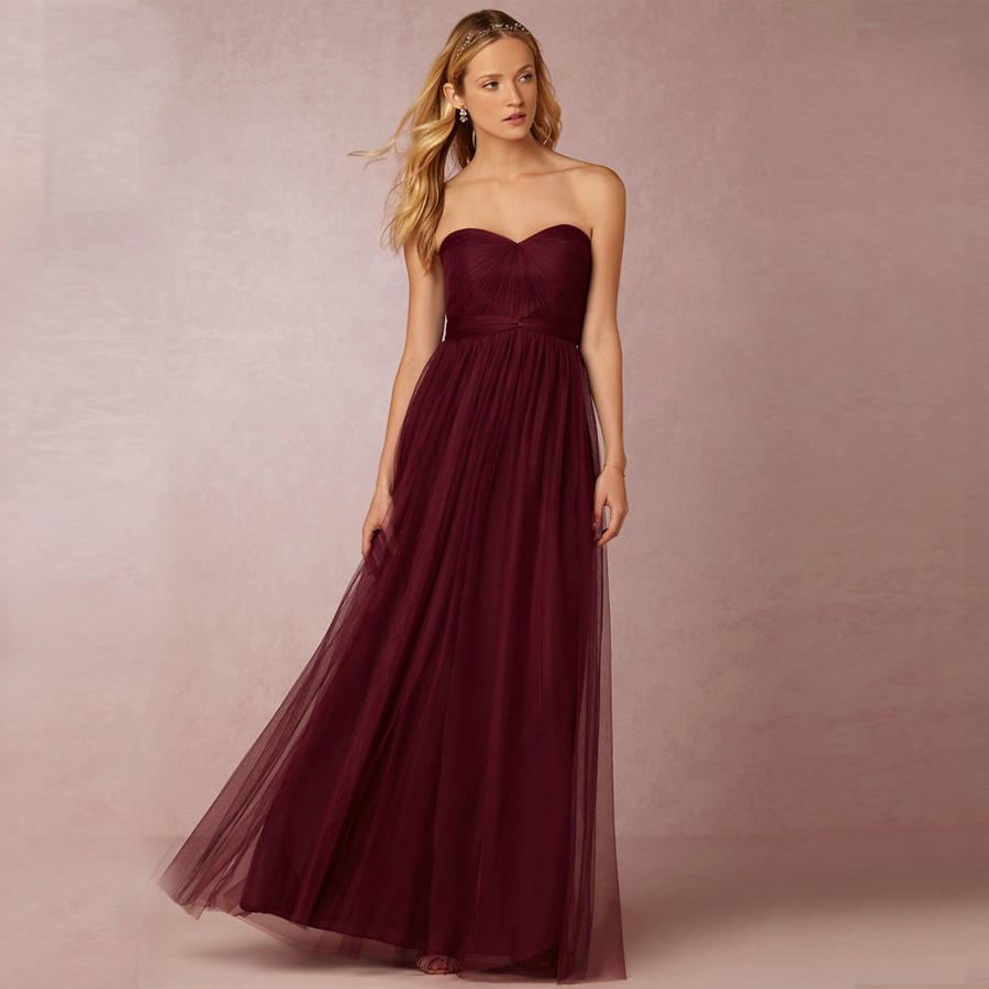 robe demoiselle d 39 honneur 2017 new tulle a line burgundy bridesmaid dresses plus size vestido de. Black Bedroom Furniture Sets. Home Design Ideas