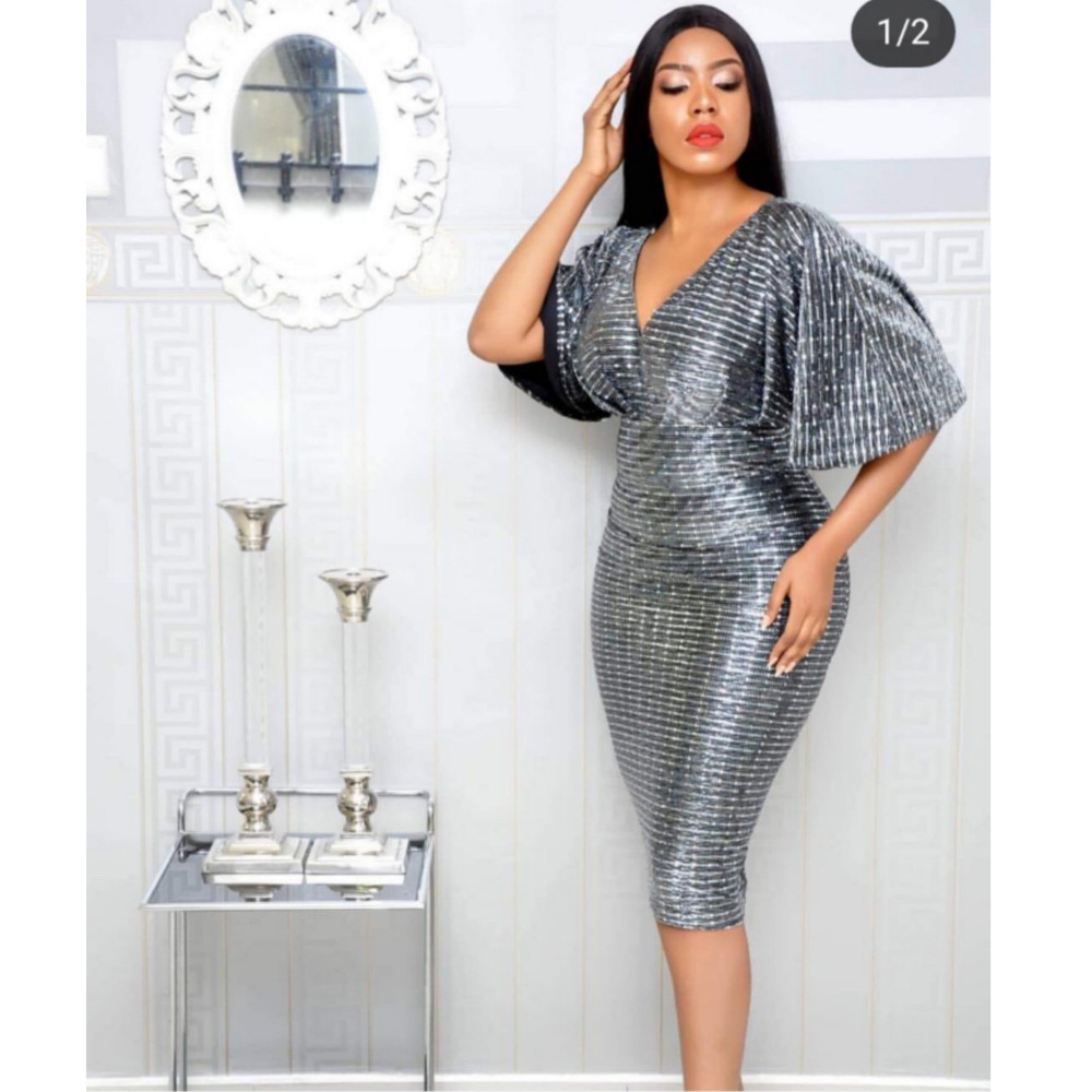 2019 New Arrival Elegent Fashion Style Summer African Women Polyester Plus Size Dress M-XL