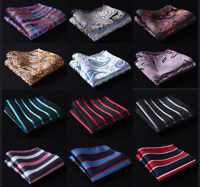 Paisley Stripe Men Silk Satin Pocket Square Hanky Jacquard Woven Classic Wedding Party Handkerchief #A5