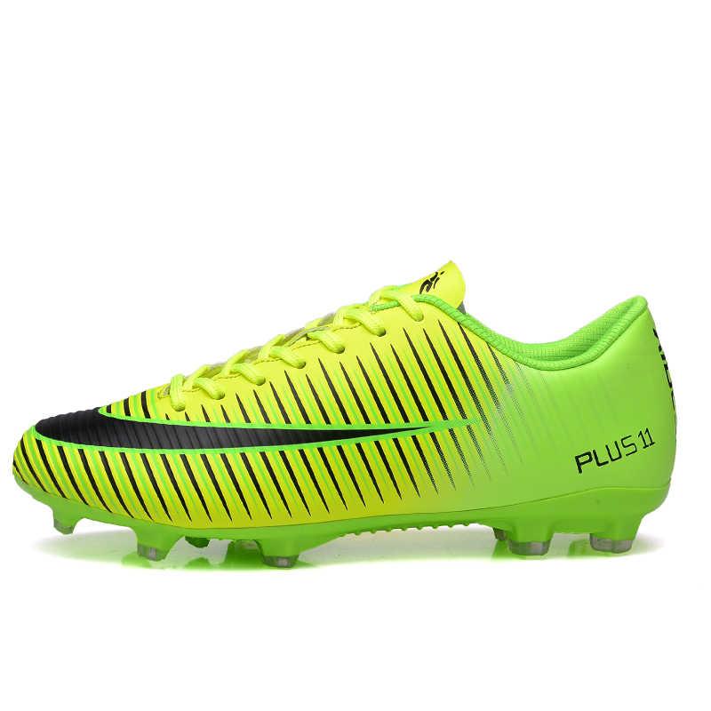 Outdoor Men chłopcy buty piłkarskie korki wysoka kostka dzieci knagi sport treningowy rozmiar butów 35-45 Dropshipping