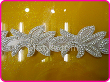 Free shipping bridal crystal applique patches and lace motif beaded crystal rhinestone trimming sash