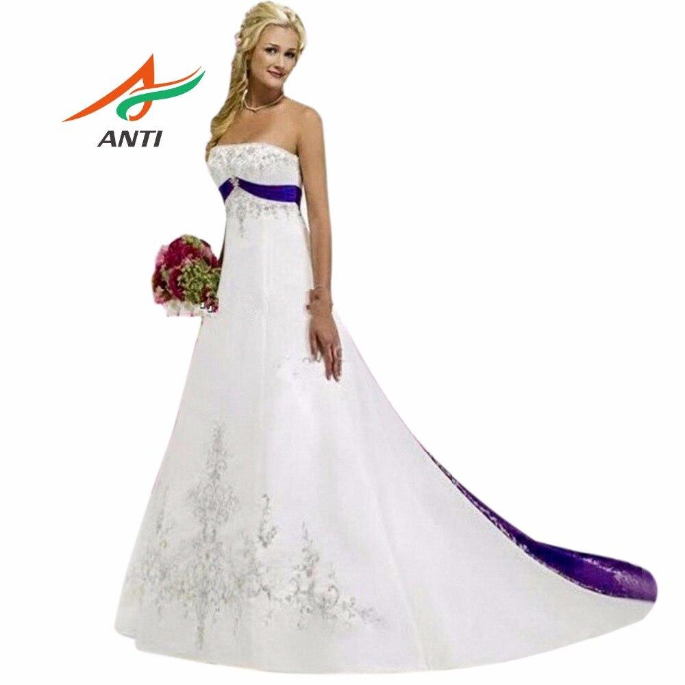ANTI vijolična in bela poročna obleka 2018 sodni vlak Vezenje nevesta poročne obleke Vestido De Noiva Casamento Robe De Mariage