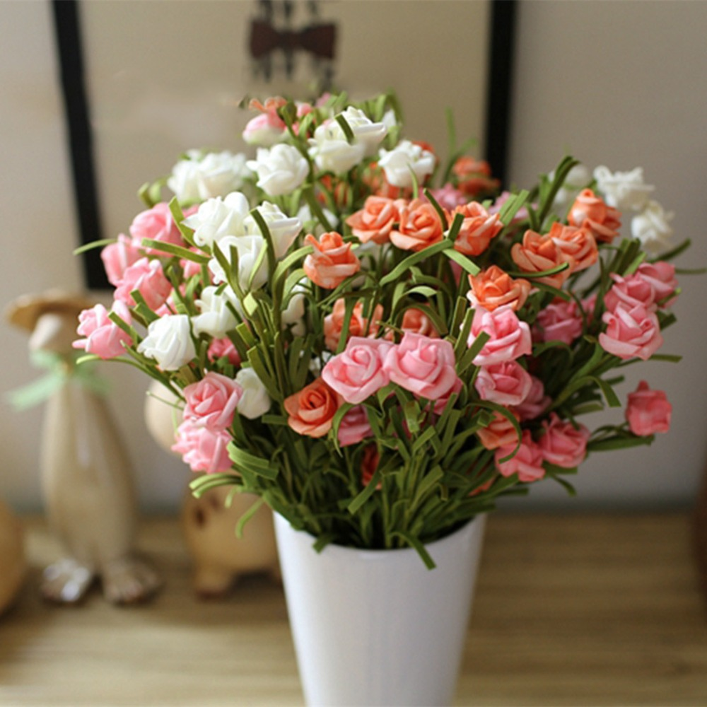 9 heads high grade small bud rose artificial flower for for Artificial flower for wedding decoration