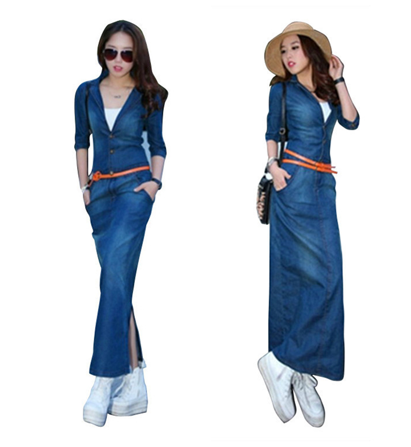 8dce1fe63d Women Dresses Spring Long Sleeve Denim Plus Size V Neck Button Vestidos  Femininos Fashion Vintage Maxi Dresses With Belt QB244-in Dresses from  Women s ...