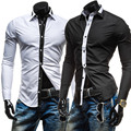 2015 New Tie Decor Classic Black White Fashion Mens Dress Shirts Long sleeve Slim Fit Casual Social Camisas Masculinas M-XXL