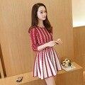 Бесплатная доставка 2016 новый женский мода тонкий тонкий длинный полосатый вязать свитер платье с длинными рукавами