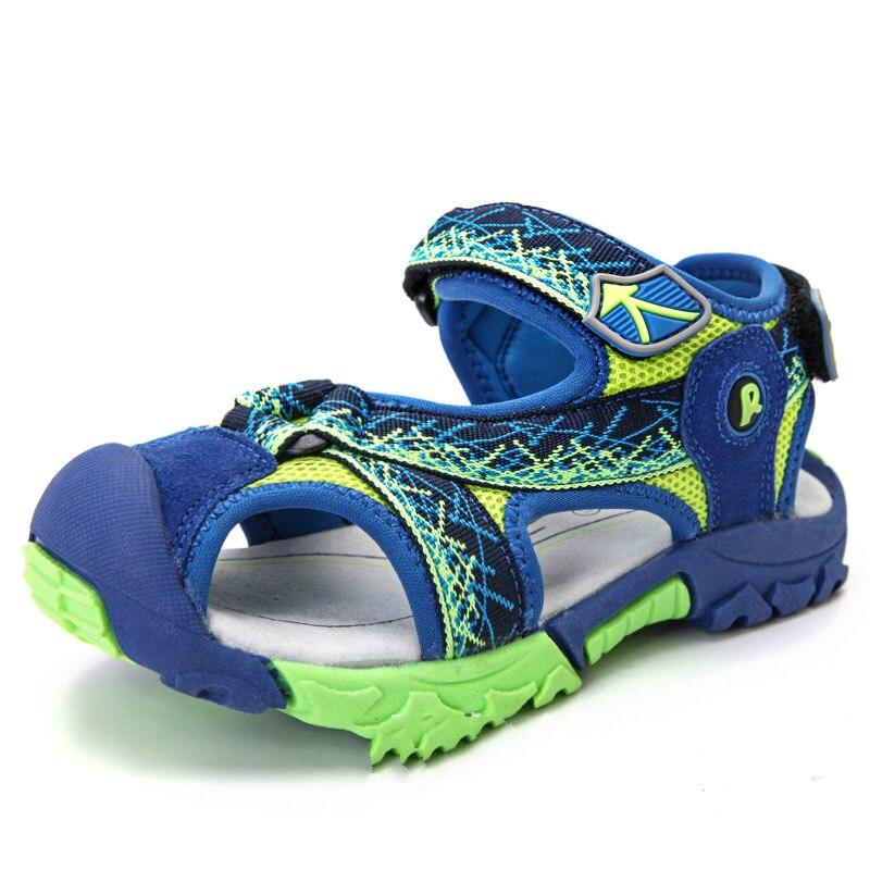 Children Boys Sandals Summer Shoes Boys Leather Cut-outs Kids Canvas Rain Soft Sole Sandals Breathable Flats Shoes Size 25-37